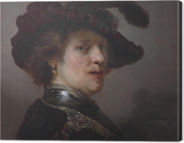 Tableau sur toile Rembrandt - Autoportrait portant un bonnet à plumes blanches - Reproductions