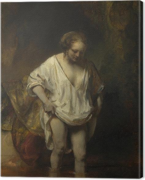 Tableau sur toile Rembrandt - Femme se baignant dans une rivière - Reproductions