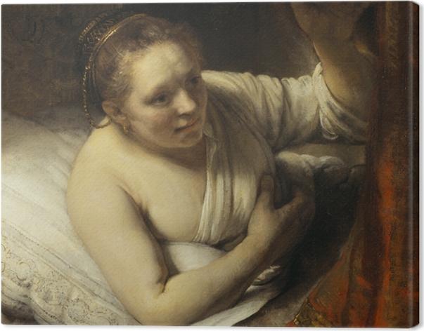 Tableau sur toile Rembrandt - Jeune Femme au lit - Reproductions