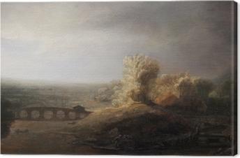 Tableau sur toile Rembrandt - Paysage avec un pont de pierre