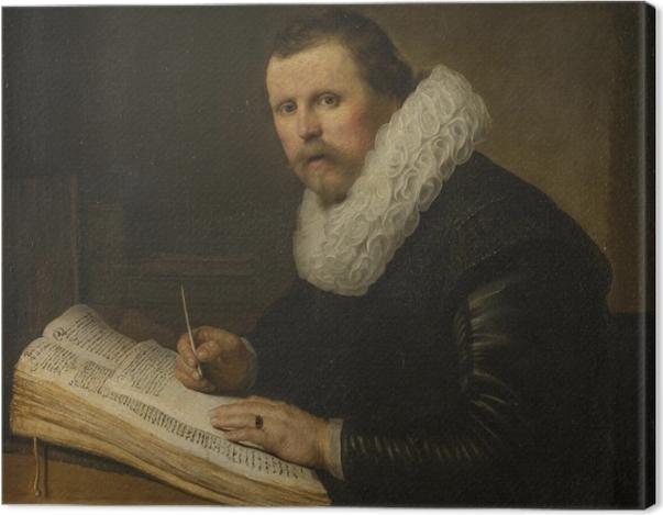 Tableau sur toile Rembrandt - Portrait d'un savant à son bureau - Reproductions