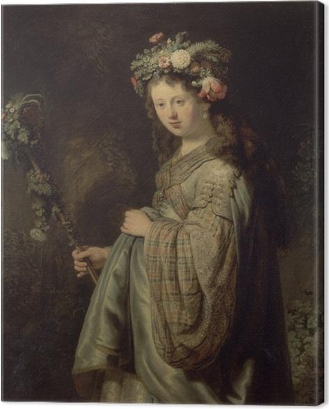 Tableau sur toile Rembrandt - Saskia comme Flora - Reproductions