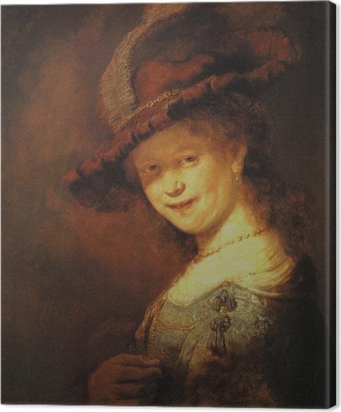 Tableau sur toile Rembrandt - Saskia van Uylenburg, buste d'une jeune femme souriante - Reproductions