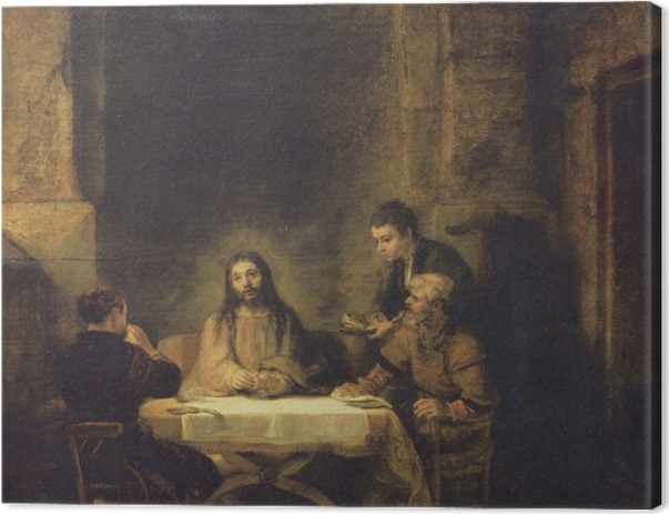 Tableau sur toile Rembrandt - Souper à Emmaüs - Reproductions