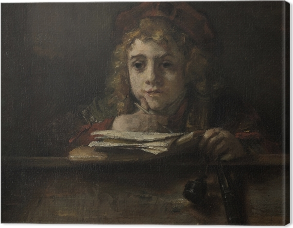 Tableau sur toile Rembrandt - Titus à son bureau - Reproductions