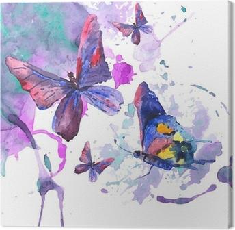 Tableau sur Toile Résumé de fond d'aquarelle avec des papillons
