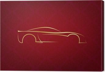 Tableau sur toile Résumé logo de voiture calligraphique sur fond rouge