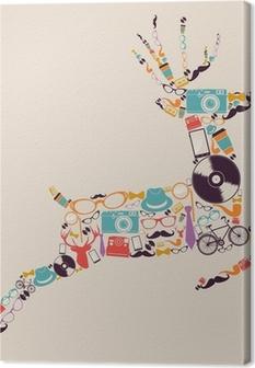Tableau sur toile Rétro hipsters icônes rennes.