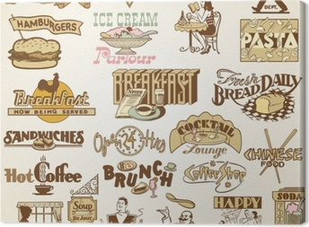 Tableau sur toile Rétro Vintage Restaurant étiquettes, ensemble de thèmes divers aliments