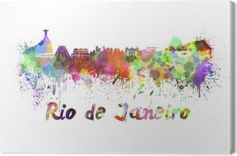 Tableau sur toile Rio de Janeiro horizon à l'aquarelle