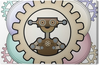 Tableau sur toile Robot de Steampunk l'intérieur engrenages colorés détenant engrenages