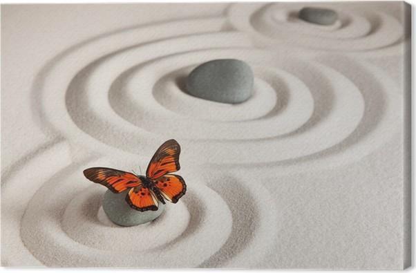tableau sur toile roches zen avec papillon pixers nous vivons pour changer. Black Bedroom Furniture Sets. Home Design Ideas
