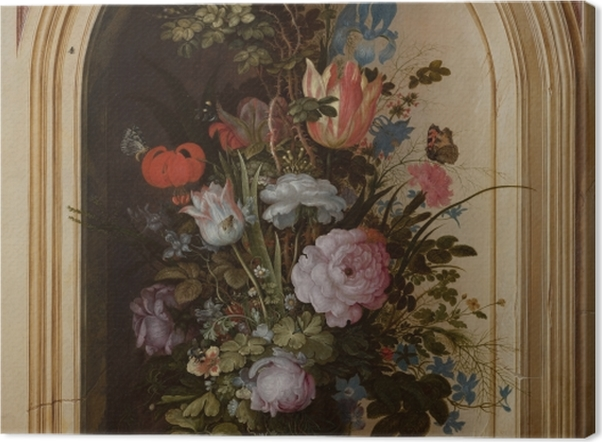 Tableau sur toile Roelant Savery - Vase with Flowers in a Stone Niche - Reproductions