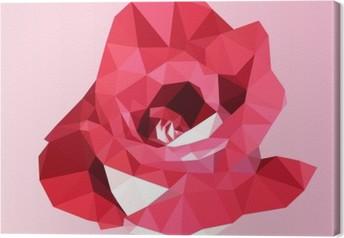 Tableau sur toile Rose rouge polygonale. poly bas fleur triangle vecteur géométrique