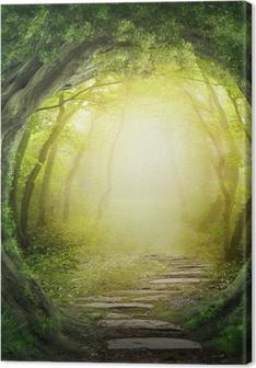Tableau sur toile Route dans la forêt sombre