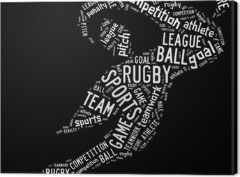 Tableau sur toile Rugby pictogramme formulations blanc