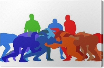 Tableau sur toile Rugby Scrum Isolation