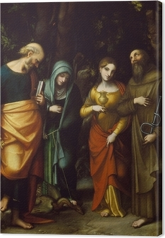 Tableau sur toile Saints Peter, Martha, Mary Magdalen, and Leonard