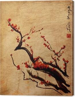 Tableau sur toile Sakura, fleurs de cerisier prune peinture chinoise