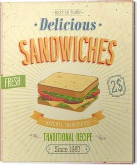 Tableau sur toile Sandwiches affiche vintage. Vector illustration.
