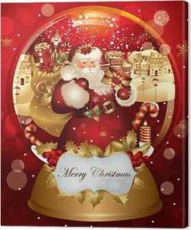 Tableau sur toile Santa Claus dans snowglobe
