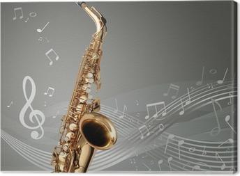 Tableau sur toile Saxophone avec des notes de musique