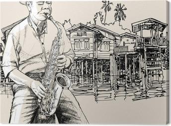 Tableau sur toile Saxophoniste sur le fleuve fond