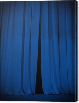 Tableau sur toile Scène de théâtre rideau bleu avec le projecteur de fond