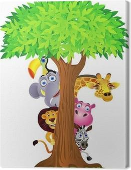 Tableau sur toile Se cacher derrière l'arbre des animaux