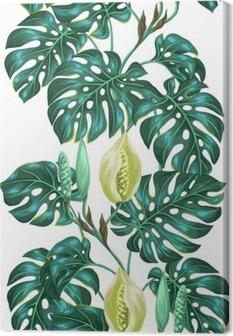 Tableau sur toile Seamless avec des feuilles de monstera. Image décorative de végétation tropicale et de fleurs. Contexte faite sans masque d'écrêtage. Facile à utiliser pour toile de fond, le textile, le papier d'emballage