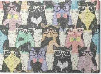 Tableau sur toile Seamless avec hippie chats mignons pour les enfants