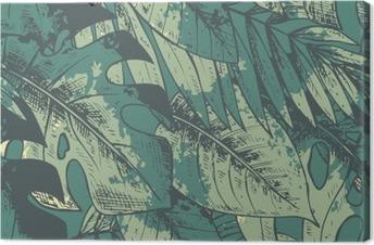 Tableau sur toile Seamless avec la main verte tirée des plantes tropicales
