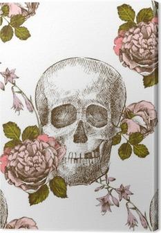 Tableau sur toile Seamless crâne avec des fleurs