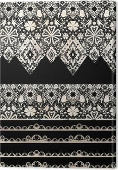 Tableau sur toile Seamless dentelle dentelle bandes de washi ruban motif sur fond noir