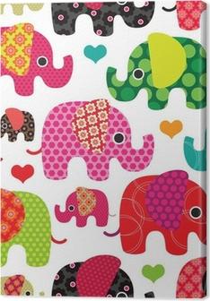 Tableau sur toile Seamless enfants d'éléphant de fond dans le vecteur