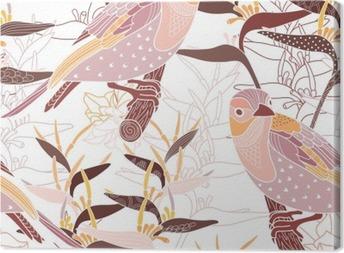Tableau sur toile Seamless floral avec des oiseaux