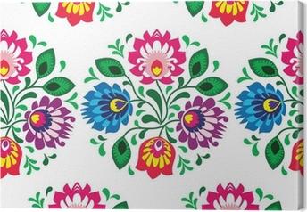 Tableau sur toile Seamless floral traditionnel de la Pologne sur fond blanc