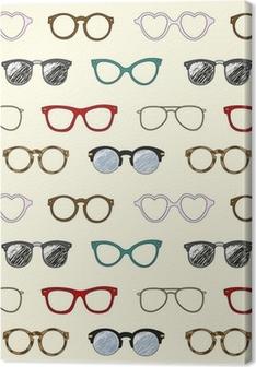 Tableau sur toile Seamless pattern avec des lunettes rétro et des cadres