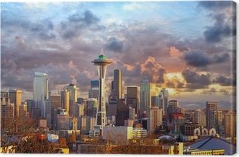 Tableau sur toile Seattle horizon au coucher du soleil, WA, USA
