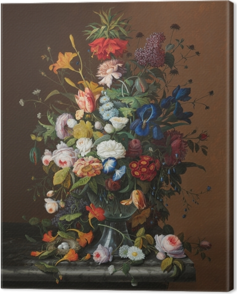 Tableau sur toile Severin Roesen - Flower Still Life with Bird's Nest - Reproductions