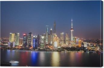 Tableau sur toile Shanghai Lujiazui vue de nuit