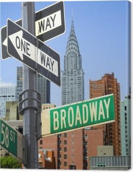 Tableau sur toile Signe Broadway en face de New York City skyline