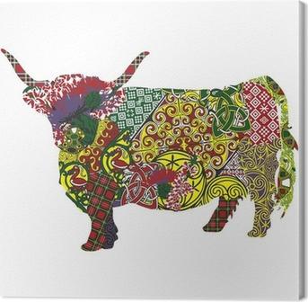 Tableau sur toile Silhouette d'une vache Highland écossais motifs celtiques