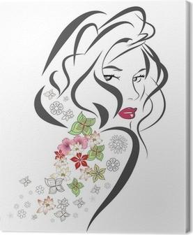 Tableau sur toile Silhouette de femme avec des fleurs