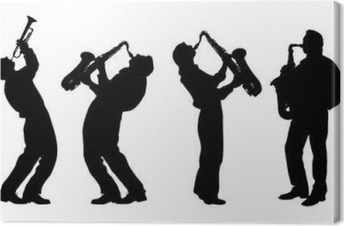 Tableau sur toile Silhouette de musicien de jazz