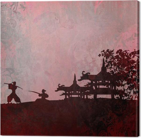 tableau sur toile silhouette de samoura dans le paysage asiatique pixers nous vivons pour. Black Bedroom Furniture Sets. Home Design Ideas