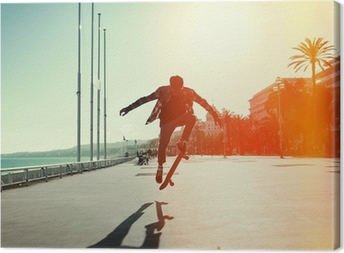 Tableau sur toile Silhouette de skateboarder