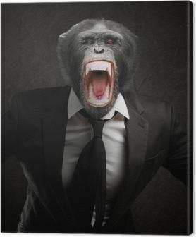 Tableau sur toile Singe frustré en costume d'affaires