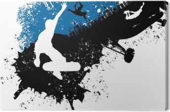 Tableau sur toile Skateboard freestyle abstrait