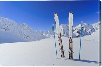 Tableau sur toile Ski, saison d'hiver, les montagnes et les équipements de ski